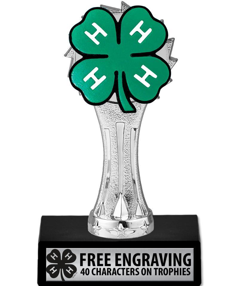 "6"" 4-H Silver Clover Trophy"