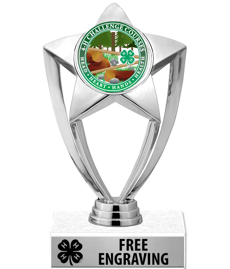 "6"" 4-H Star Silver Insert Trophy"
