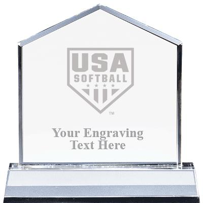 "6"" CRYSTAL HOMEPLATE AWARD"