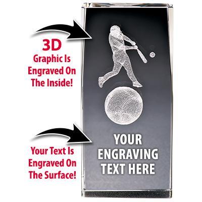 ASA Baseball Crystal 3D Laser Cut Trophy