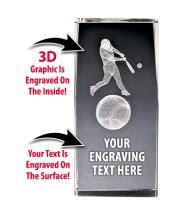 USA Softball Baseball Crystal 3D Laser Cut Trophy