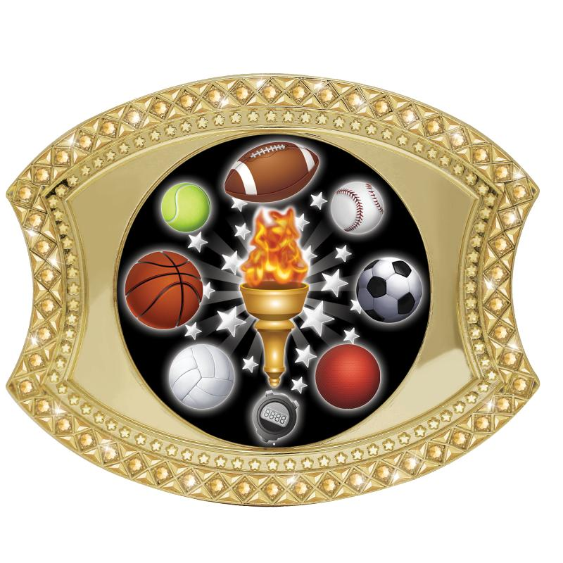 BELT BUCKLE ALL SPORTS GOLD