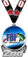 """3"""" Bass Federation 2nd Place Insert Medal"""