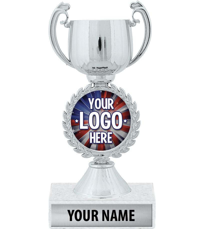 "7 1/4"" Silver Chaplet Cup Custom Insert Trophy"
