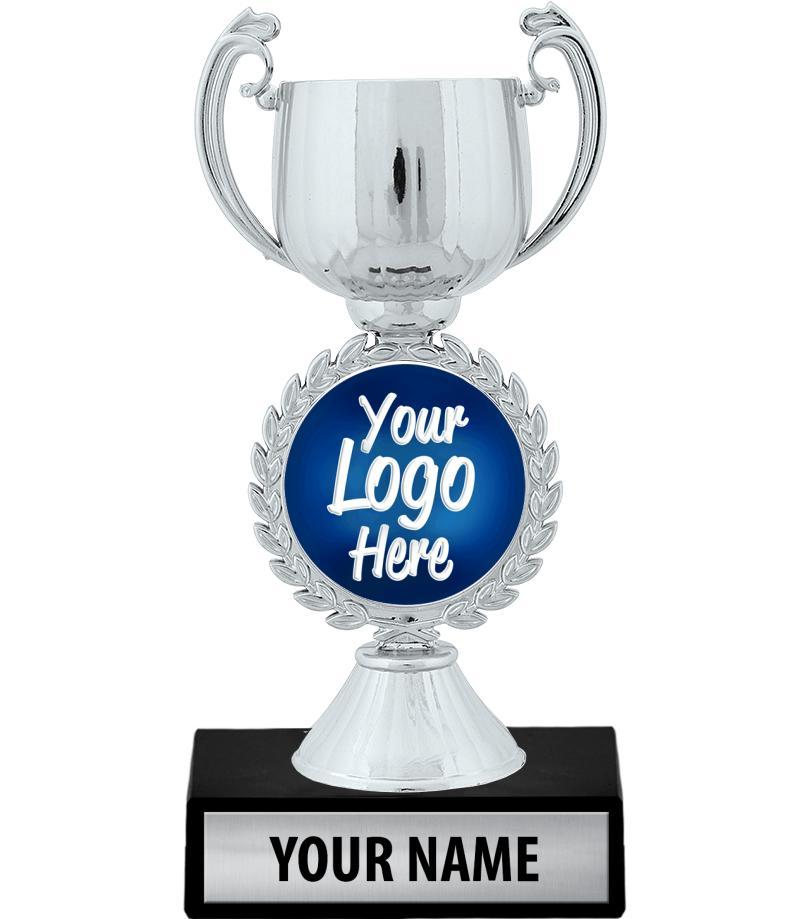 "7 1/4"" Silver Chaplet Cup Custom Insert Trophy"