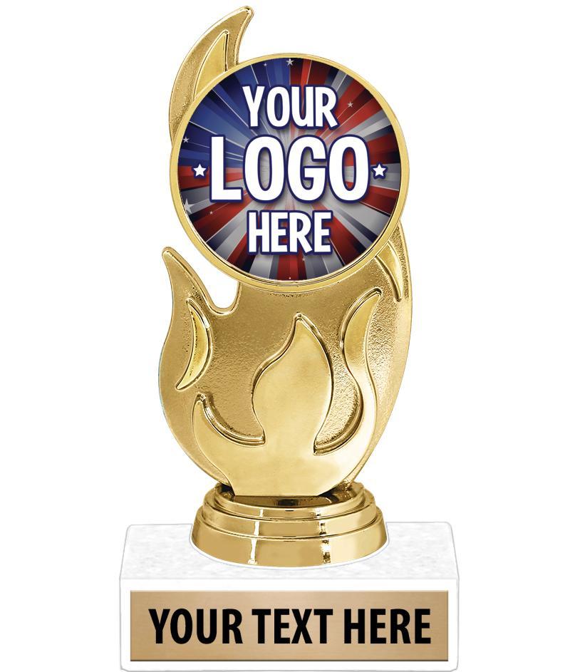 "5 3/4"" Gold Flame Custom Insert Trophy"