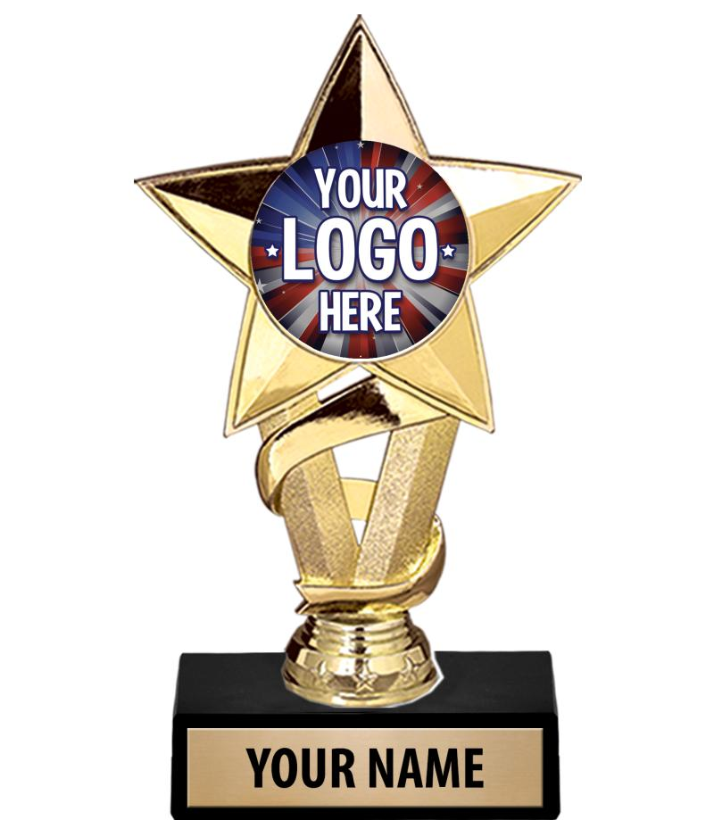 "7"" Gold Star Custom Insert Trophy"