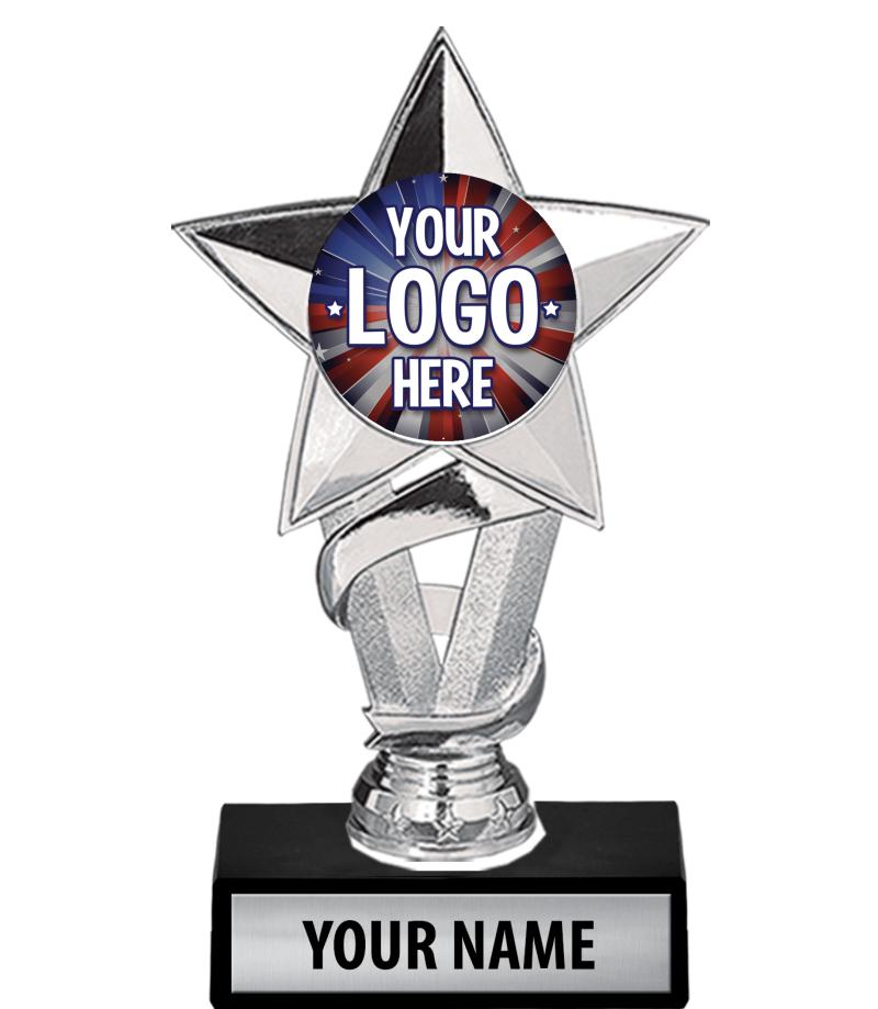 """7"""" Silver Star Custom Insert Trophy"""