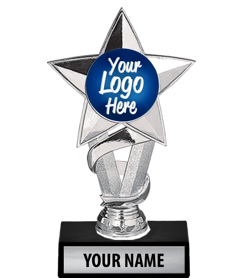 "7"" Silver Star Custom Insert Trophy"