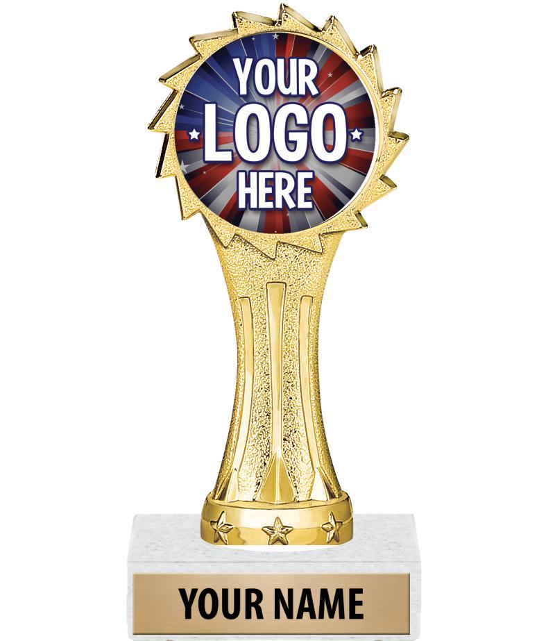 """6"""" Gold Sunburst Custom Insert Trophy"""