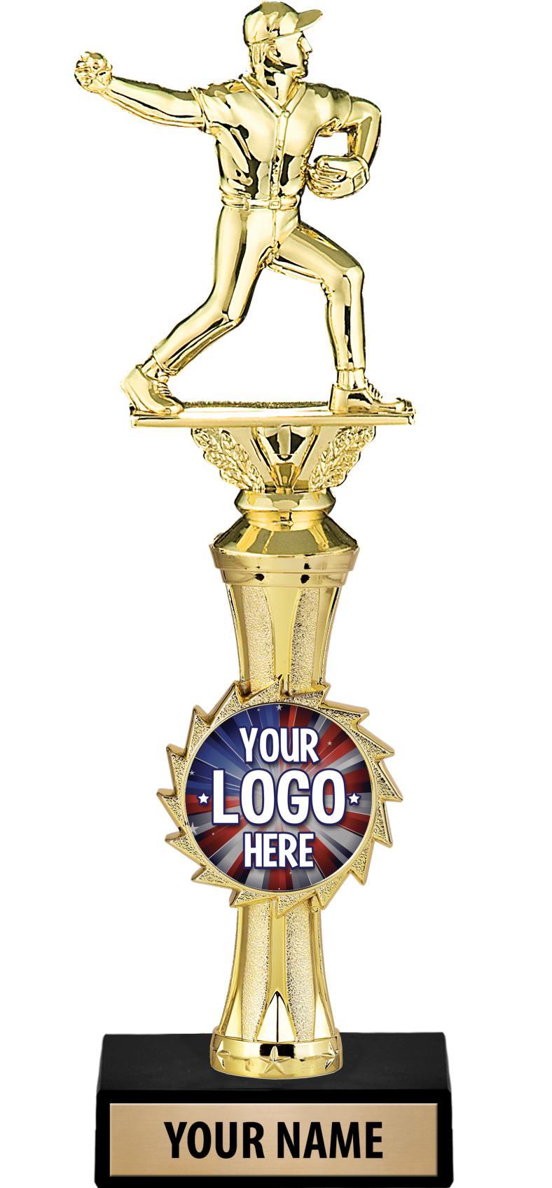 """12"""" Gold Sunburst Riser Custom Insert Trophy"""