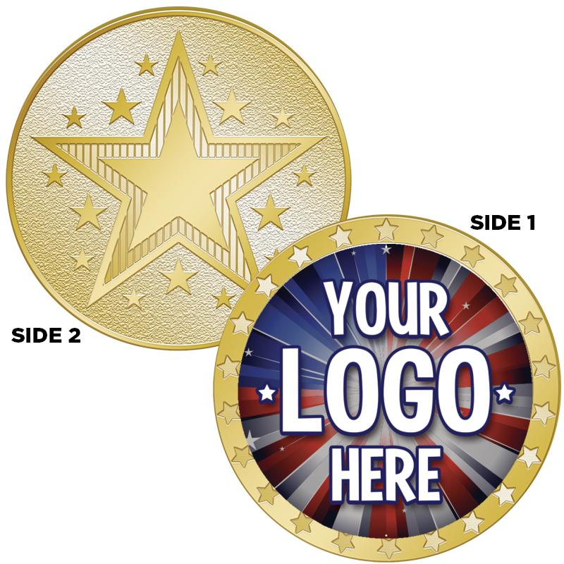 """1.5"""" 1-SIDED STAR COIN GOLD"""