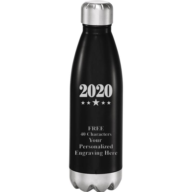 SHINY BLACK WATER BOTTLE 17 OZ