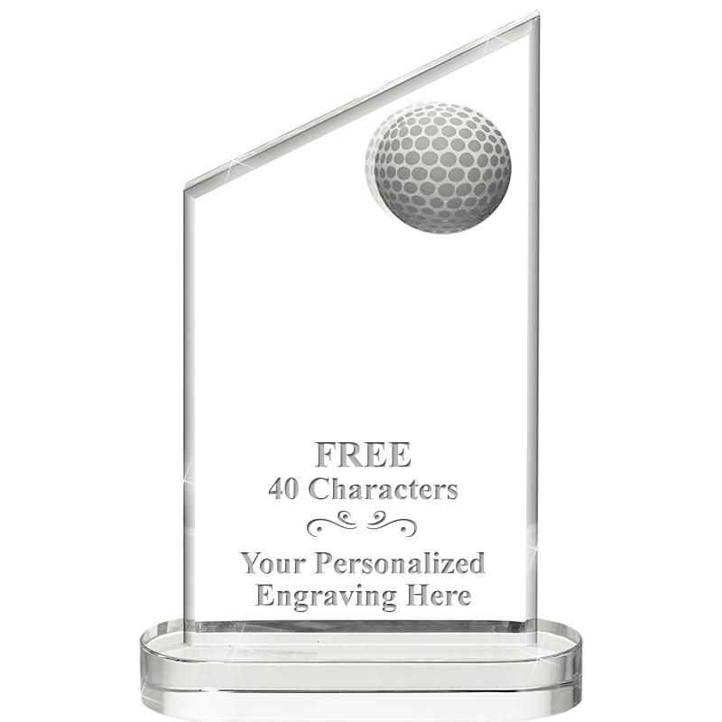 "8"" INLAID GOLF CRYSTAL AWARD"