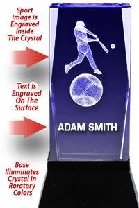 USSSA Laser Cut Baseball Crystal With Light Up Base