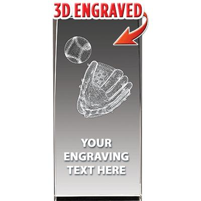 Baseball Glove Crystal Trophy