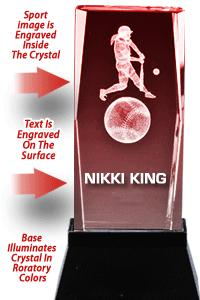 USSSA Laser Cut Softball Crystal With Light Up Base