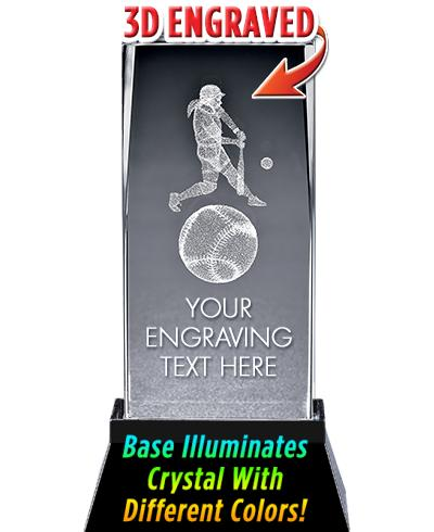 Softball Crystal Trophy
