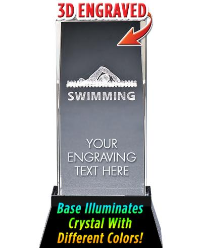 SWIM LASER CUT CRYSTAL AWARD