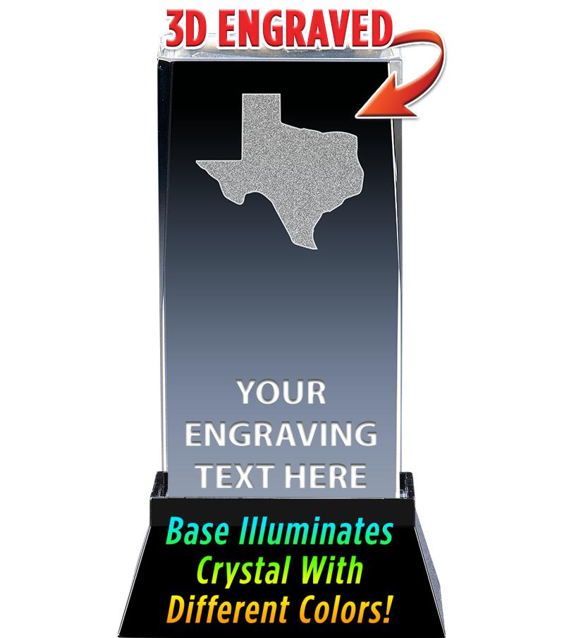 TEXAS LASER CUT CRYSTAL AWARD