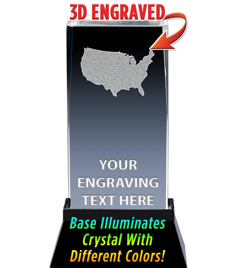 USA LASER CUT CRYSTAL AWARD