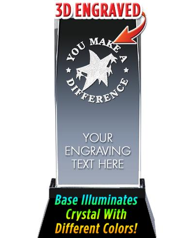 You Make A Difference Crystal Trophy