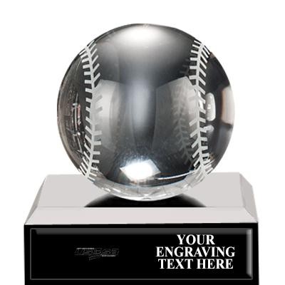 USSSA Crystal Mini Baseball Trophy
