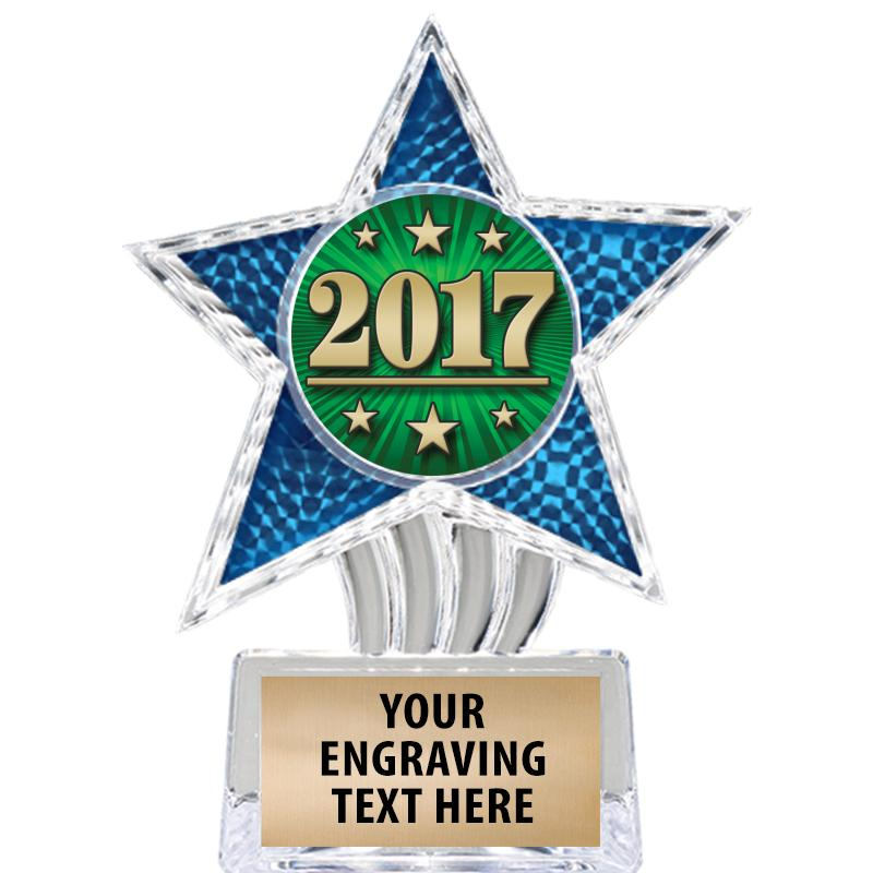 """6"""" Blue Cosmic Icicle Star Insert Trophy"""