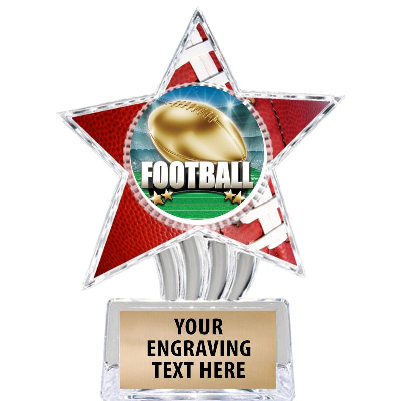 "6"" Football Cosmic Icicle Star Insert Trophy"