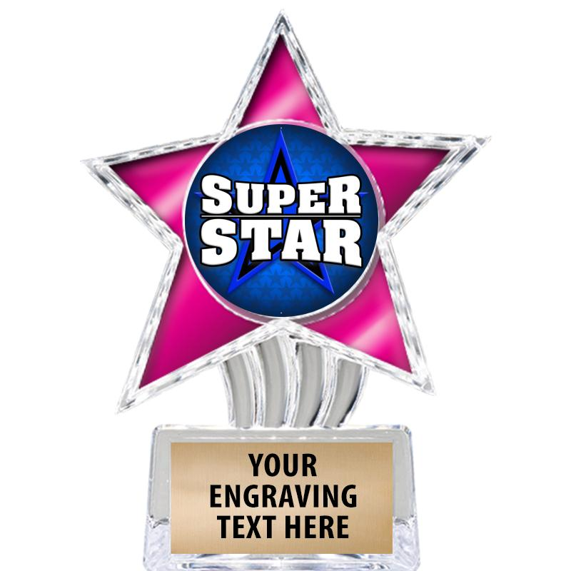 """6"""" Pink Cosmic Icicle Star Insert Trophy"""