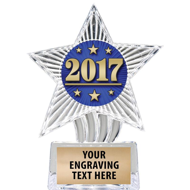 "6"" Clear Cosmic Icicle Star Insert Trophy"
