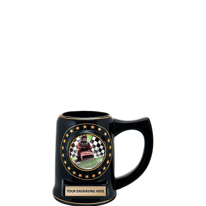 "5 1/4"" STAR CERAMIC BLACK MUG"