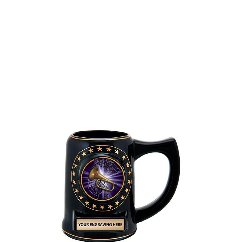 """5 1/4"""" STAR CERAMIC BLACK MUG"""