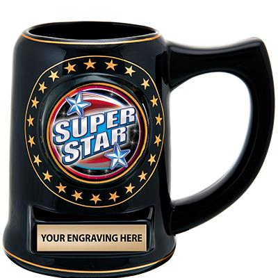 "5 1/4"" Ceramic Black Star Mug"
