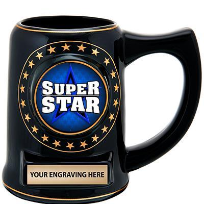 """5 1/4"""" Ceramic Black Star Mug"""