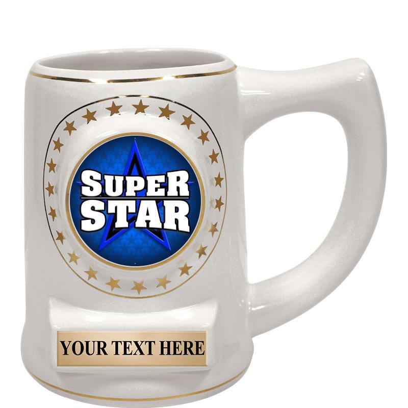 """5 1/4"""" Ceramic White Star Mug"""