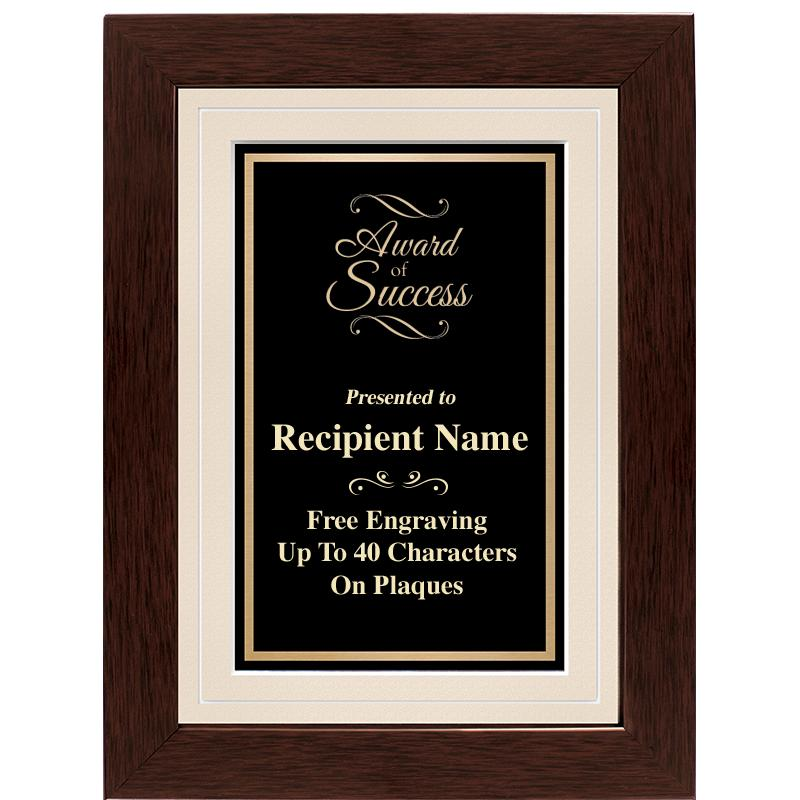 Dark Walnut Frame Plaque With Tan Matting