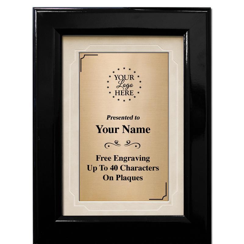 Black Gloss Frame Plaque With Tan Matting