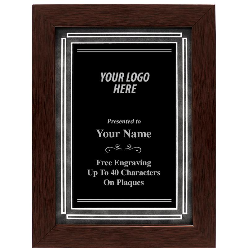 Walnut Frame Plaque With Grey Matting And Black Plate