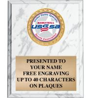 USSSA White Marbleized Plaques