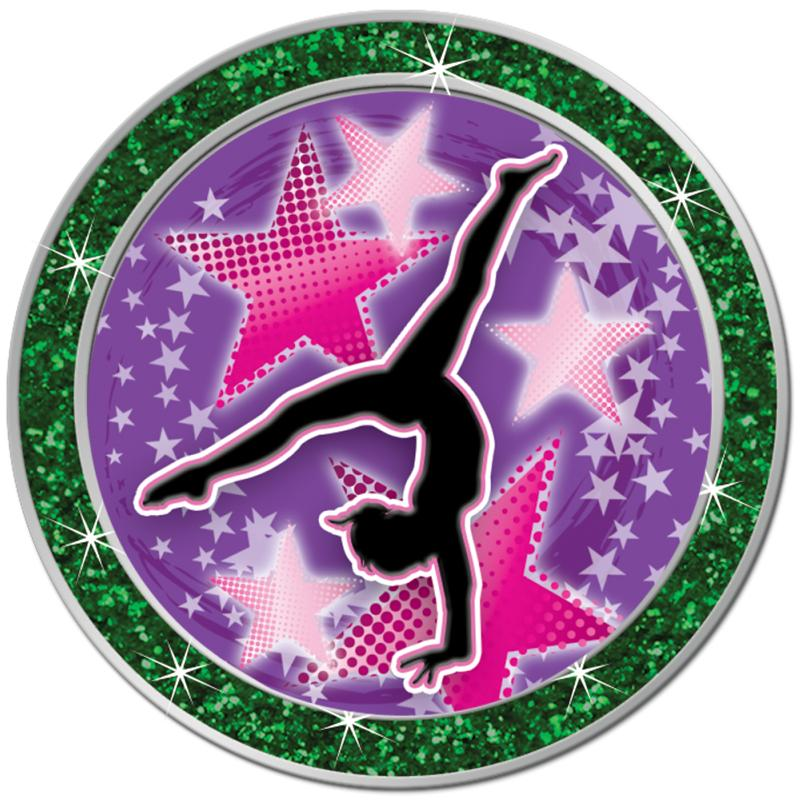 "1.3"" GREEN GLITTER INSERT PIN"
