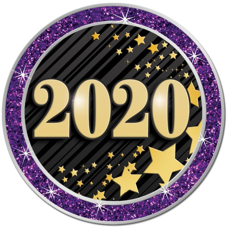 "1.3"" PURPLE GLITTER INSERT PIN"