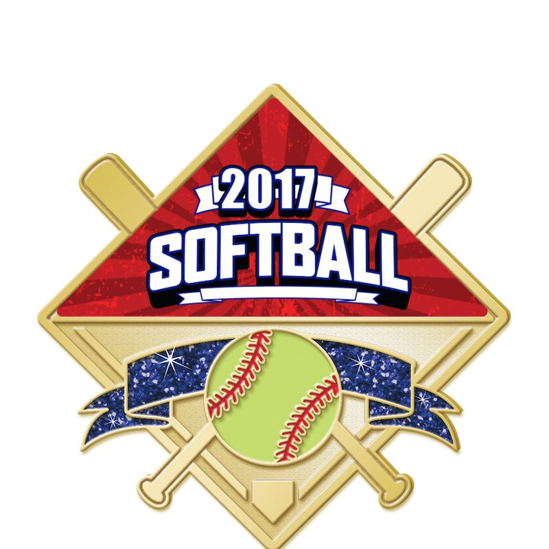 "1.25"" GLITTER SOFTBALL PIN"