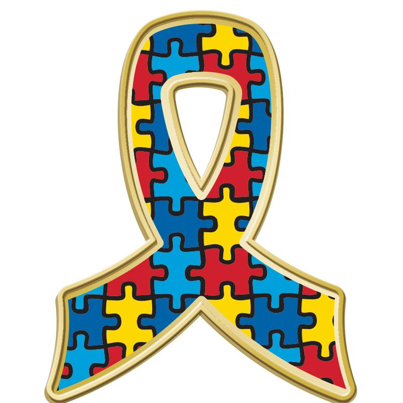 Autism Puzzle Ribbon Pin