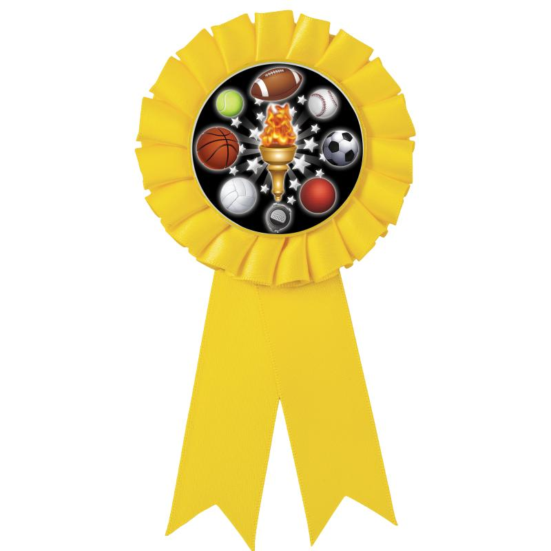 YELLOW MYLAR ROSETTES