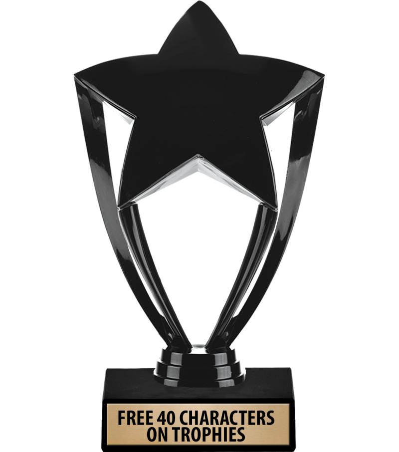 """6"""" Gold, Silver & Black Star Trophies"""