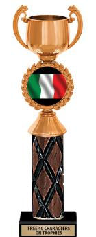 """10""""-12"""" Gold Cup Insert Wood Column Trophies"""