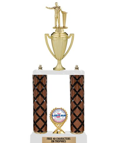 """22""""-26"""" 2 Poster Cup Wood Column Trophies"""