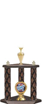 "22""-26"" 3 Poster Cup Wood Column Trophies"