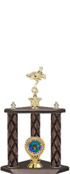 """22""""-26"""" 3 Poster Cup Wood Column Trophies"""